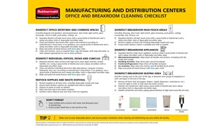 Use this checklist made for manufacturing and distribution centers as guidance for cleaning offices and breakrooms properly.