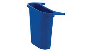 The Rubbermaid Commercial Recycling Side Bin is constructed of polyethylene to be lightweight and durable. It attaches onto medium wastebaskets to create a deskside recycling solution.