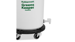 The Rubbermaid Commercial BRUTE® Greenskeeper Food Container with  Lid and Dolly helps keep greens fresh.