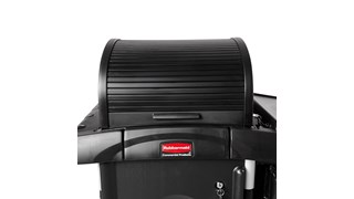 The Rubbermaid Commercial Products Executive Locking Hood for High-Capacity Janitorial Cleaning Carts secures and conceals supplies stored on the top of the cart while providing access to supplies on both sides of the cart.