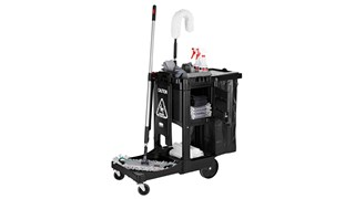 The Rubbermaid Commercial Executive Series™ Traditional Janitorial Cleaning Cart collects waste and transports tools for efficient cleaning. Thoughtfully designed to elevate your image by allowing staff to blend into the environment with discreet colours.