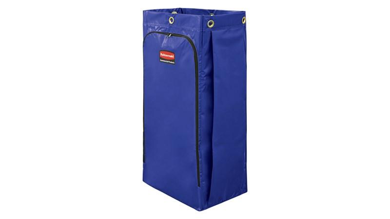 De Rubbermaid Commercial Product vinyl zak voor schoonmaakkarren verzamelt tot 129L afval (20% meer dan traditionele zakken) met ritssluiting aan de voorkant voor eenvoudige afvalverwijdering.