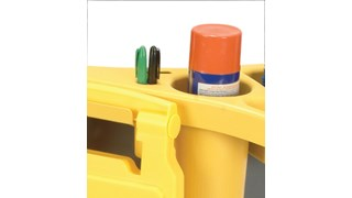 The Rubbermaid Commercial BRUTE® Rim Caddy snaps securely onto the rim of  167 l BRUTE® Containers.