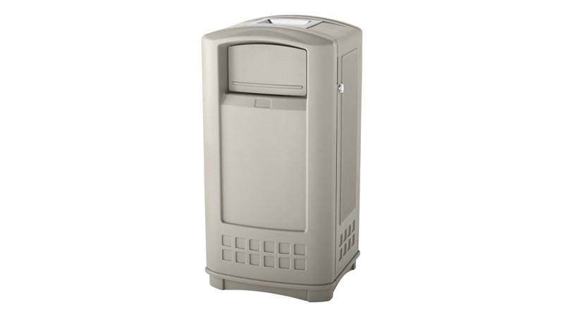 Die Plaza®-Jr.-Abfalleimer von Rubbermaid Commercial bieten ein modernes Design mit einer seitlich zu öffnenden Tür für eine ergonomische Abfallentsorgung.