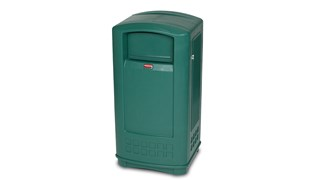 The Rubbermaid Commercial LANDMARK® Jr. Waste Bin offers contemporary styling with a side-opening door for ergonomic waste emptying.