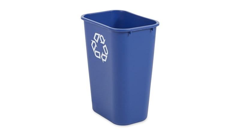 De Rubbermaid Commercial-containers voor naast het bureau zijn ruimtebesparend, zuinig en een eenvoudige en effectieve oplossing voor het recyclen op de werkplek.