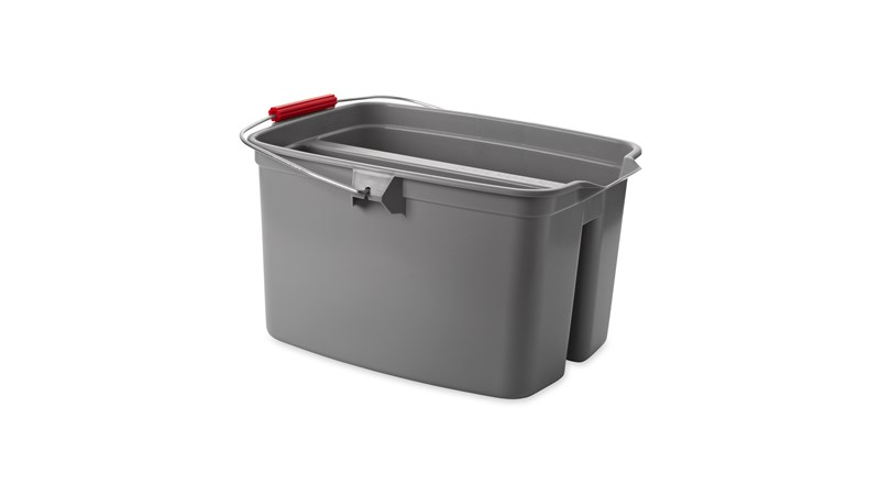 The Rubbermaid Commercial Double Pail Plastic Bucket makes using a sponge mop simple.