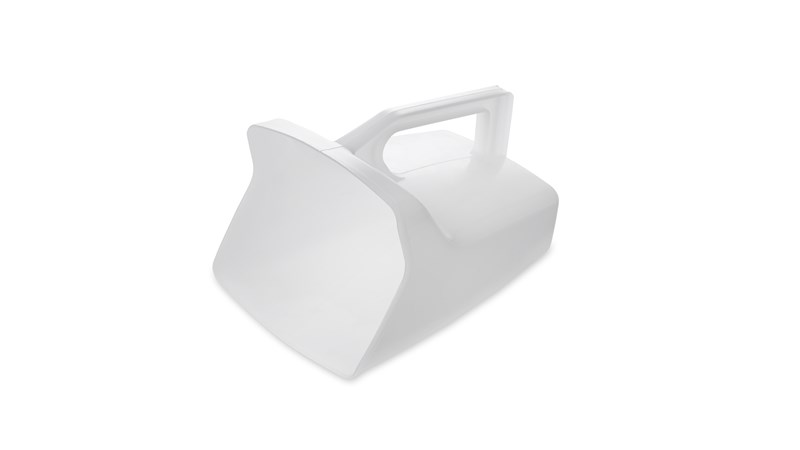 The Rubbermaid Commercial Food Service Scoop features a smooth surface for easy cleaning.