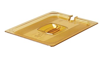 The Rubbermaid Commercial Hot Food Pan Cover with Notch is break resistant and won't rust, dent, or bend.