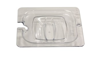 Insert pan cover with notch, allowing spoon to be easily available while food remains covered.