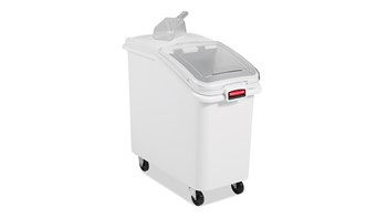 The Rubbermaid Commercial ProSave® Ingredient and Food Storage Mobile Bin is a bulk food storage container on wheels. With a slanted front, s Liding opening, and 32-ounce scoop, these food storage containers make it easy to transport ingredients.