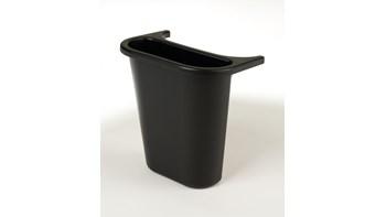 Le bac latéral de recyclage Rubbermaid est en polyéthylène léger et résistant. Il se fixe sur des corbeilles de taille moyenne pour créer une solution de tri sélectif au bureau.