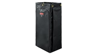 The Rubbermaid Commercial Vinyl Bag for Janitorial Cleaning Carts collects up to 34 gaLs of waste (20% more than traditional cart bags) with zippered front for easy trash removal.