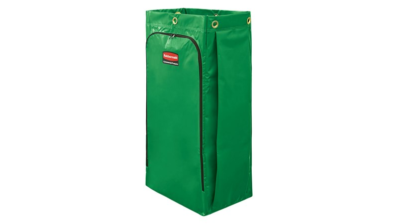 The Rubbermaid Commercial Vinyl Bag for Janitorial Cleaning Carts collects up to 129 l of waste (20% more than traditional cart bags) with zippered front for easy waste removal.