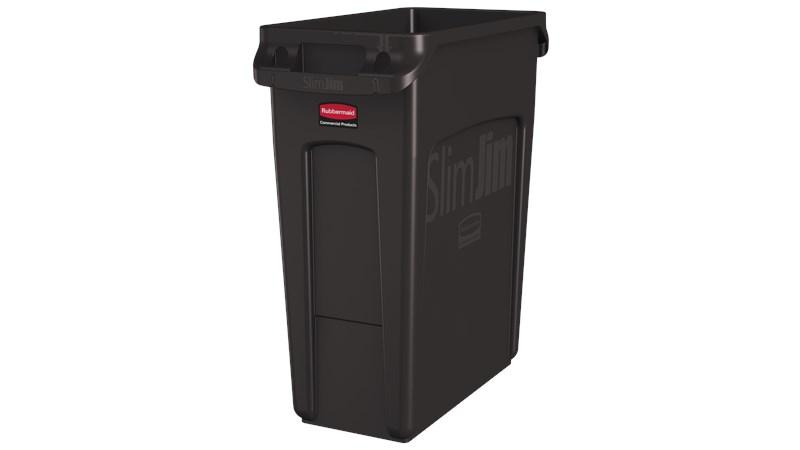 De Rubbermaid Commercial Slim Jim containers met luchtsleuven bieden compromisloze prestaties in nauwe ruimtes.