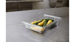 The Rubbermaid Commercial Food Storage Container can be used to store or serve food.