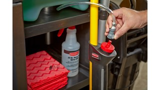 The Rubbermaid Commercial HYGEN™ PULSE™ High-Capacity Caddy allows users to easily clean up to 10,000 square feet, reducing the frequency of trips to the supply closet.