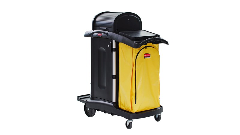 The Rubbermaid Commercial Executive High-Security Janitorial Cleaning Cart provides the most secure cart, featuring quiet castors and ball-bearing wheels along with preassembled locking hood and doors