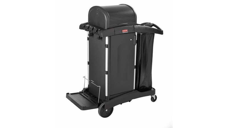 The Rubbermaid Commercial Executive High-Security Janitorial Cleaning Cart provides the most discreet and secure cart, featuring quiet castors and ball-bearing wheels along with preassembled locking hood and doors
