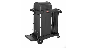 Executive Janitorial Cleaning Cart with Doors and Hood   High Security, Black