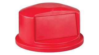 Der BRUTE®-Kuppelaufsatz mit Belüftungskanälen ist robust ausgelegt. Der integrierte Schnappverschluss sorgt für einen perfekten Sitz. Die Federklappe erleichtert die Abfallentsorgung und verhindert das Eindringen von Insekten in den Behälter.