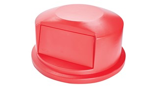 The Rubbermaid Commercial Vented BRUTE® Dome Top Lid is built tough with a snap-lock design for a perfect fit. A spring door makes waste disposal easy and prevents insects from entering the receptacle.