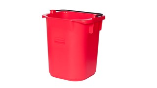 The Rubbermaid Commercial 5 l Heavy Duty Pail for Cleaning Carts provides a quick and easy way to clean in tight places.