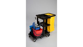The Rubbermaid Commercial Traditional Janitorial Cleaning Cart with Yellow Bag and Zip collects waste and transports tools for efficient cleaning.