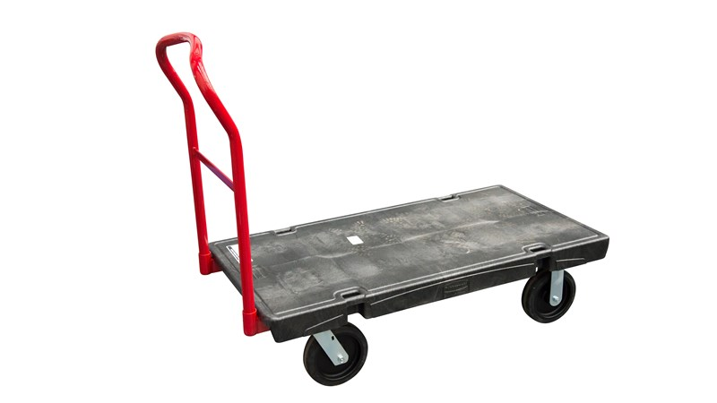 The Rubbermaid Commercial Heavy-Duty Platform Truck is constructed from Duramold resin and metal composite for durability and strength. The platform truck cart has a 900 kg capacity.