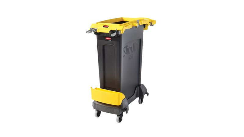 The Rubbermaid Commercial Slim Jim® Rim Caddy Kit is a purpose-built system to store and transport common cleaning tools.
