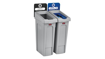 Slim Jim® Recycling Station 2 Stream Landfill/Mixed Recycling