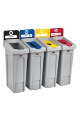 Slim Jim® Recycling Station 4 Stream Landfill/Paper/Plastic/Cans