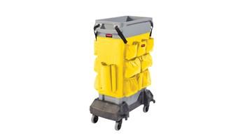 De Slim Jim® Caddy-zak van Rubbermaid Commercial optimaliseert de ruimte door alle benodigdheden aan boord op te slaan die nodig zijn voor het reinigen en vervangen van de zakken onderweg.
