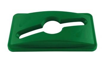 Die Slim Jim®-Recycling-Deckel von Rubbermaid Commercial erleichtern die Müll- und Recyclingsortierung durch austauschbare, farbcodierte Aufsätze.