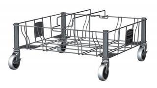 The Rubbermaid Commercial Vented Slim Jim® Stainless Steel Double Dolly is designed to support and transport Vented Slim Jim® containers smoothly and efficiently through any commercial facility.