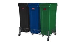 The Rubbermaid Commercial Vented Slim Jim® Stainless Steel Triple Dolly is designed to support and transport Vented Slim Jim® containers smoothly and efficiently through any commercial facility.