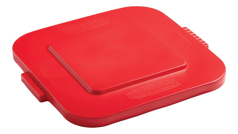 Rubbermaid Commercial BRUTE® square container lids reduce pooling when containers are stored outside. The heavy-duty, durable Waste Bin lids snap on for secure, stable stacking.