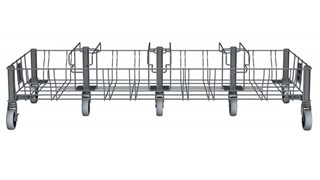 The Rubbermaid Commercial Vented Slim Jim® Stainless Steel Quadruple Dolly is designed to support and transport Vented Slim Jim® containers smoothly and efficiently through any commercial facility.