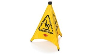 Collapsible sign automatically deploys when removed from wall-mounted storage tube. Multilingual safety communication utilizes ANSI/OSHA-compliant colour and graphics