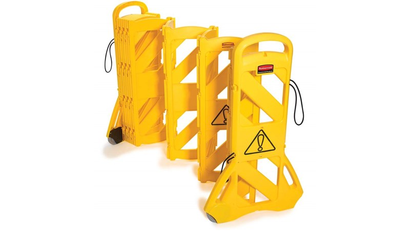 Easy to use, easy to see, easy to move, and easy to store mobile barrier uses articulating panels to extend to 4 metres long. It can be used straight, curved or circular. ANSI/OSHA-compliant Colours.