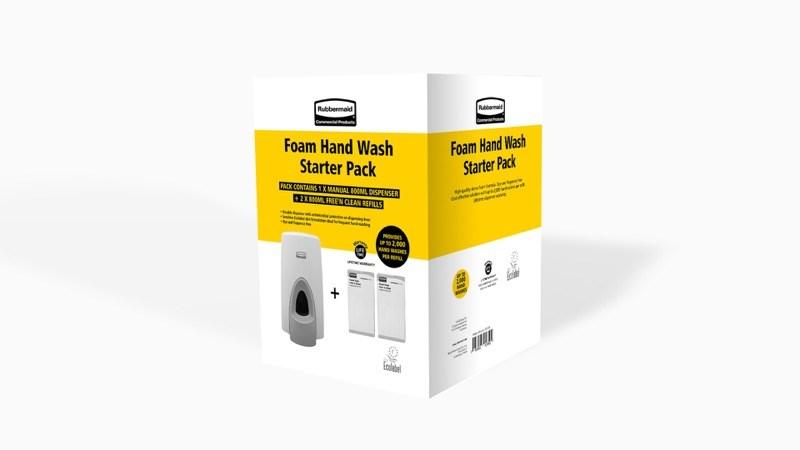 Le Kit de démarrage de savon mousse pour l'hygiène des mains (manuel) inclut un distributeur et 2recharges de savon mousse écolabellisées. Il offre une solution simple et efficace pour éviter la prolifération de bactéries nocives dans vos établissements.