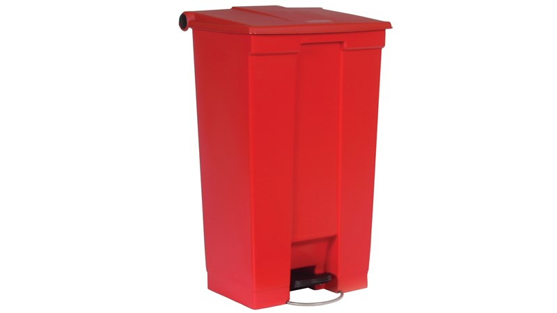 The Rubbermaid Commercial Step-On Container provides sanitary waste management.