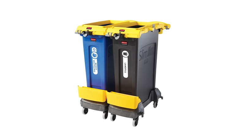 Rubbermaid Commercial 2-Stream Slim Jim® Cleaning Cart is a compact and purpose-built solution for all-in-one sanitation and waste collection. The cleaning cart helps store and transport common cleaning tools, hand Sanitiser, and disinfecting wipes. It consolidates all the supplies you need in one solution to reduce trips and improve cleaning productivity.