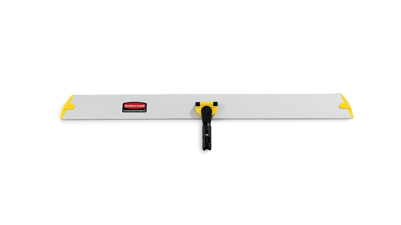 The Rubbermaid Commercial HYGEN™ Quick-Connect Frames features a flat profile that slides easily under furniture and equipment.