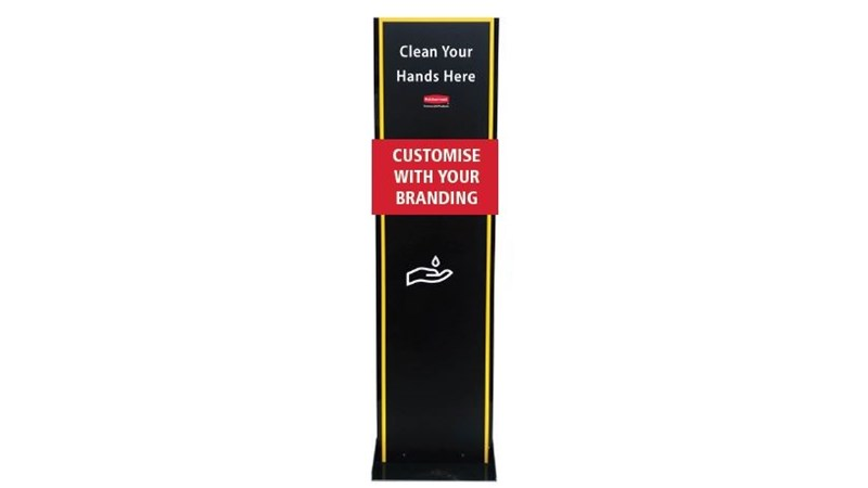 Customisable Metal Hand Sanitiser Stands are designed to be custom printed with any branding or graphic to suit your facility.  This is a simple and effective way to prevent the spread of harmful bacteria in your facilities whilst maintaing a consistent brand image.