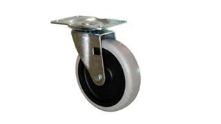 Non-marking plate castors. For use with Rubbermaid Commercial tilt trucks 1011 and 9T13 and BRUTE Tandem Dollies 2640. Includes screws.  castor/G Lide/Wheel: Plate Mount Swivel Single Wheel castors; colour: Black/Grey; Stem Type: Plate Mount Swivel; Wheel Tread: Soft Non-Marking.