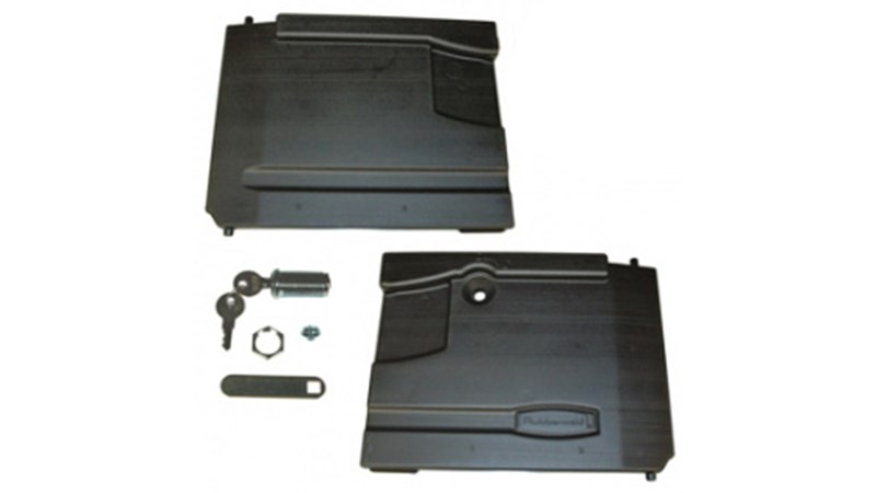 Door Kit includes two doors with lock and keys. Accessory Type: Door Kit with Lock; For Use With: Rubbermaid Commercial Xtra Carts; Material(s): High Density Polyethylene; colour(s): Black.
