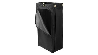 The Rubbermaid Commercial Canvas Bag for Janitorial Cleaning Carts with vinyl lining collects up to 113.56 L of waste with zippered front for easy trash removal.