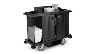 Das seitlich befüllbare Wäschenetz von Rubbermaid Commercial für Hotelwagen fasst eine große Menge an sauberer Wäsche und macht einen größeren Wagen überflüssig.