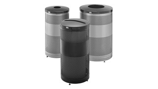 The heavy-duty Classics Decorative Waste Container has a perforated steel design for a clean and modern appearance. This container is a smart choice for high-traffic areas and can be used both outdoors and indoors.